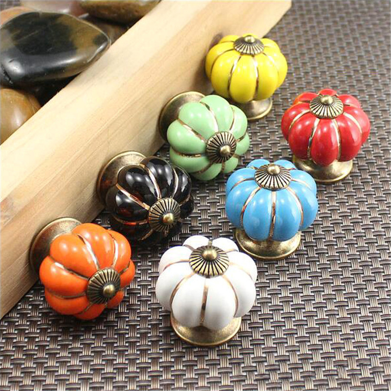 5Pcs Vintage Ceramic Door Knobs Cabinet Drawer Wardrobe Cupboard Kitchen Pull Handle Pumpkin Shape of Home Furniture Handles luxury gold czech crystal round cabinet door knobs and handles furnitures cupboard wardrobe drawer pull handle