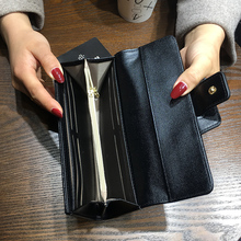AOEO New Korean Ladies Wallets Fashion Long Short Three Fold Clutch Bag Multi-Function Buckle Zip Coin Purse Women Wallet Female three fold wallet long section of new leather embossed clutch bag purse ms bb055