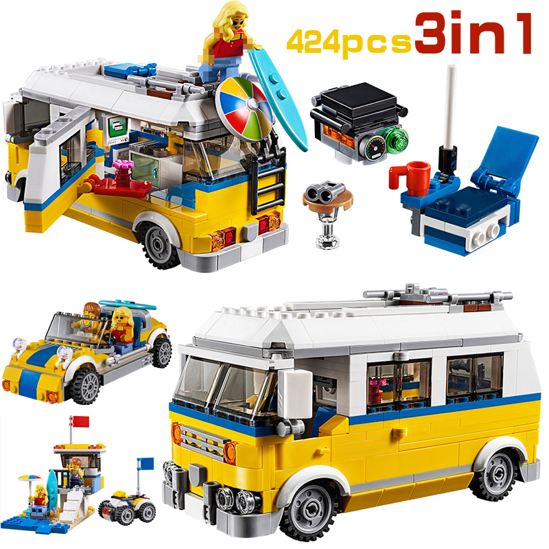 LEPIN creador ciudad 3in1 sol Surfer Van Camper Van barbacoa coche 24044 bloques ladrillos juguetes para niños legoing 31079