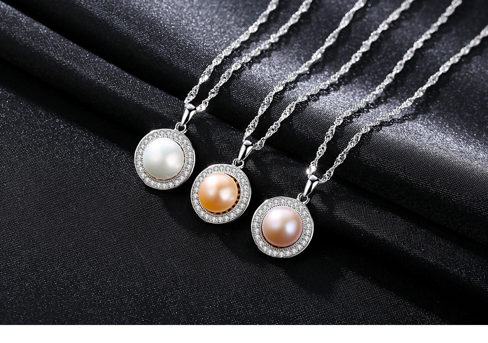 S925 sterling silver item pearl necklace micro-inlaid AAA zircon natural freshwater pearl pendant accessories LB42 natural white crystal beaded with s925 silver inlaid blue accessories pearl red agate pendant bracelet