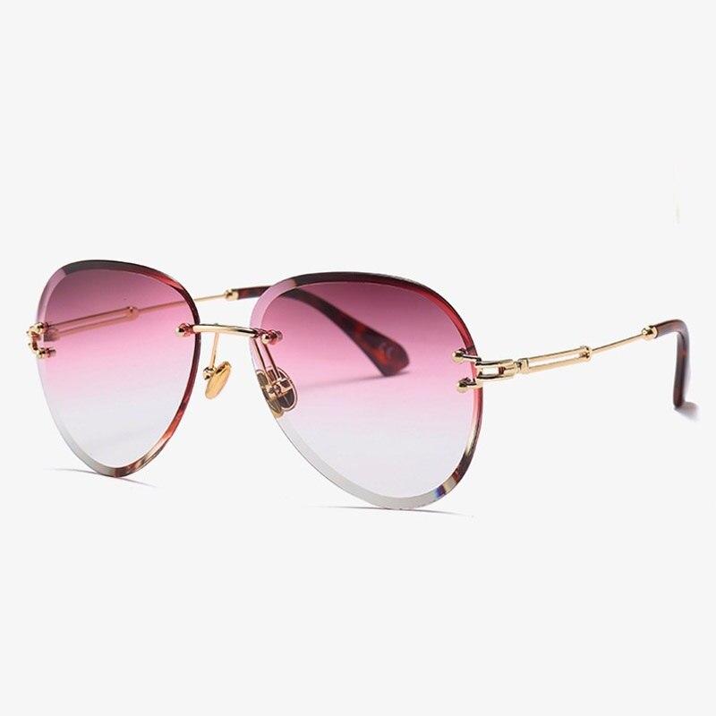 Womens Transparent Rimless Luxury Posh Retro Sunglasses UV400 Protection