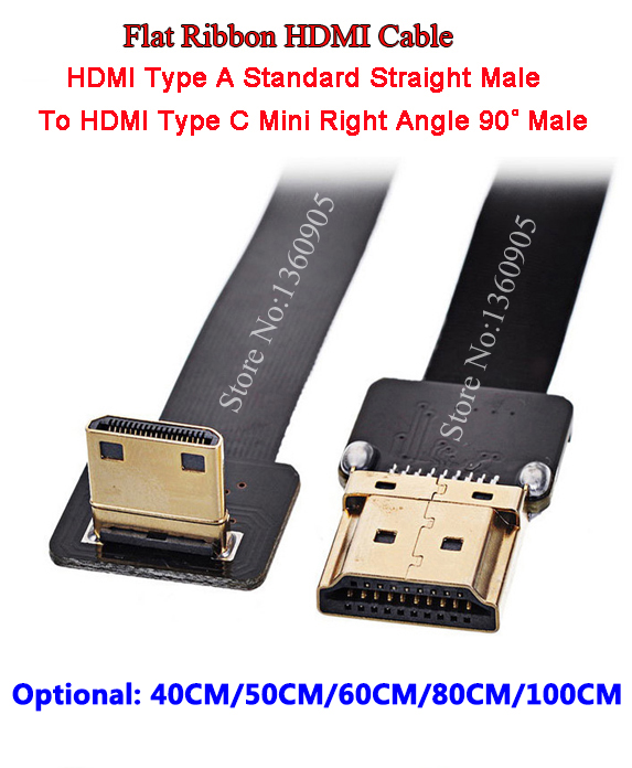40/50/60/80/100CM Ultra Thin HDMI Cable Type A Straight Standard To Type C Mini Up Angle 90 Degree Flat Ribbon Cable FPC FPV