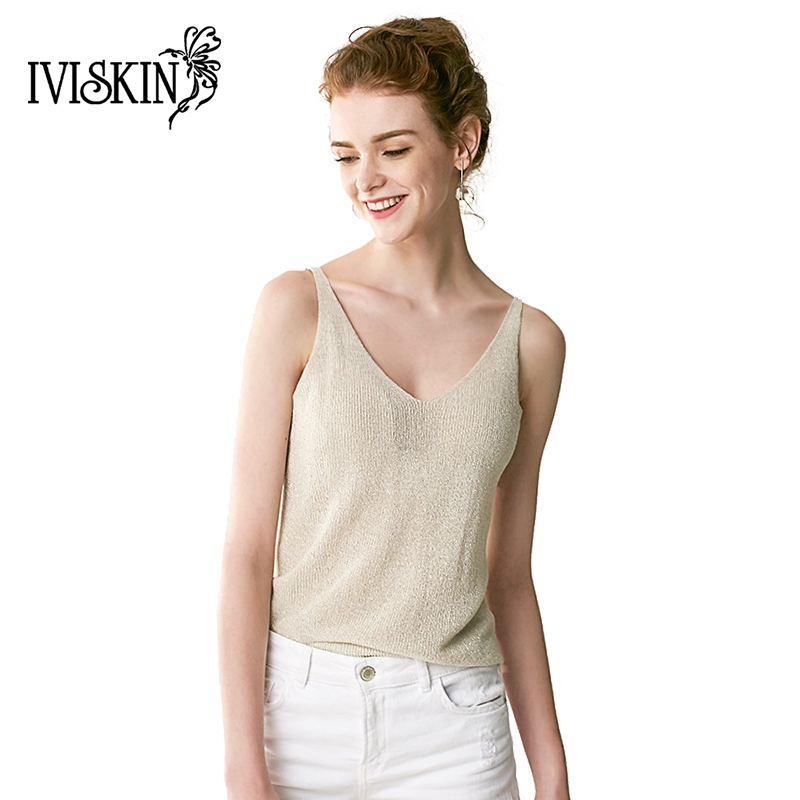 Women knit tank top slive thread sexy v neck tops vest femme knitted tank tops blusa solid beige - Top sexy femme ...