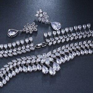 Image 4 - Emmaya יוקרה מעוקב Zirconia סטי תכשיטי כלה סטי שרשרת תכשיטי מסיבת חתונה יהלומים מלאכותיים גביש דמעת