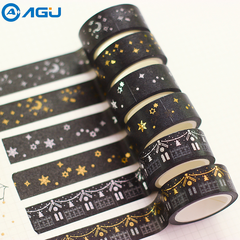 AAGU 15mm*10m Black And White Foil Gold And Silver Washi Tape 8 Patterns Moon And Star Self Adhesive Paper Tape Adhesive Tape kitmmm6200341296pac103620 value kit pacon riverside construction paper pac103620 and highland invisible permanent mending tape mmm6200341296