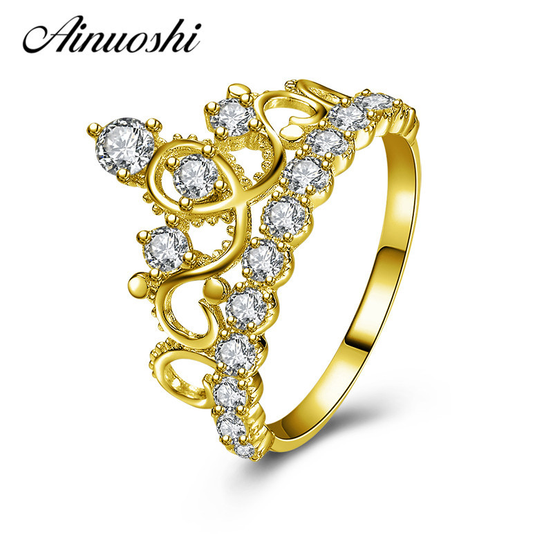 AINUOSHI 10k Solid Yellow Gold Women Engagement Ring Simulated Diamond Anel de ouro Crown Shape Gold Rings Female Fine Jewelry graceful solid color rhinestone crown shape ring for women