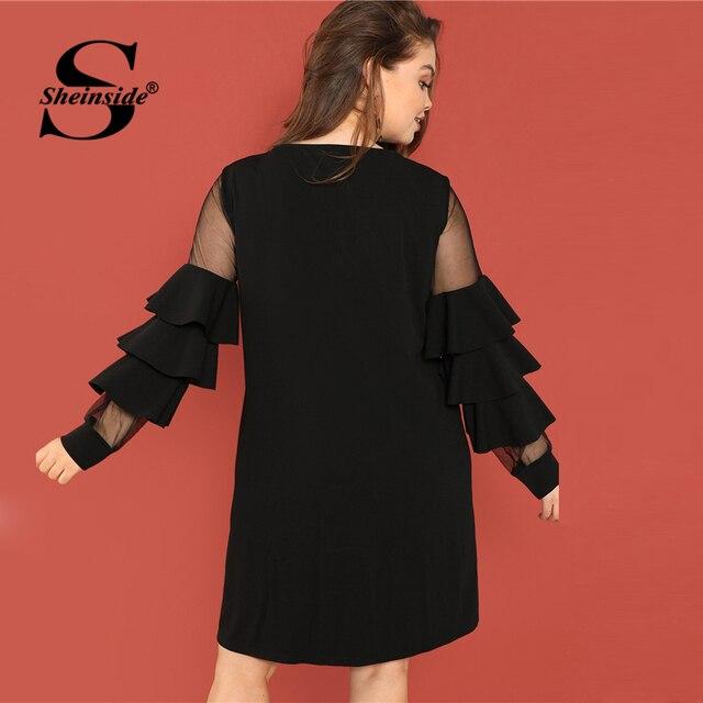 Sheinside Black Plus Size Tunic Midi Dress Women Sheer Mesh Insert Ruffle Trim Dresses 2018 Ladies Layered Sleeve Elegant Dress 1