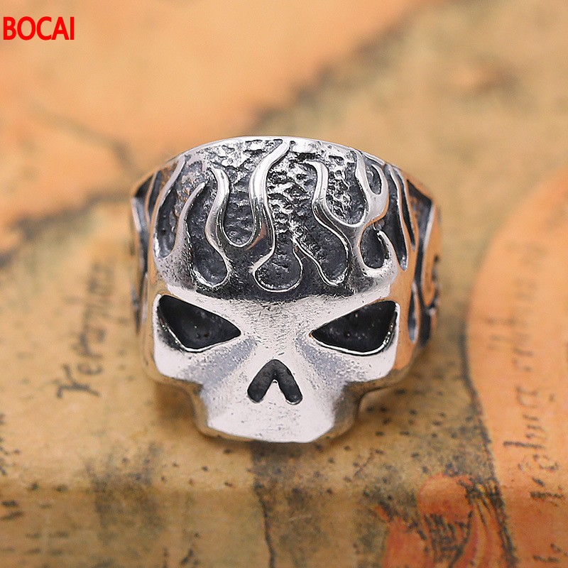 S925 pure silver Thai silver ornament punk man personality skulls pop open ring restoring ancient ways 925 silver men s ring thai silver national wind restoring ancient ways domineering silver ring pop open wholesale offered