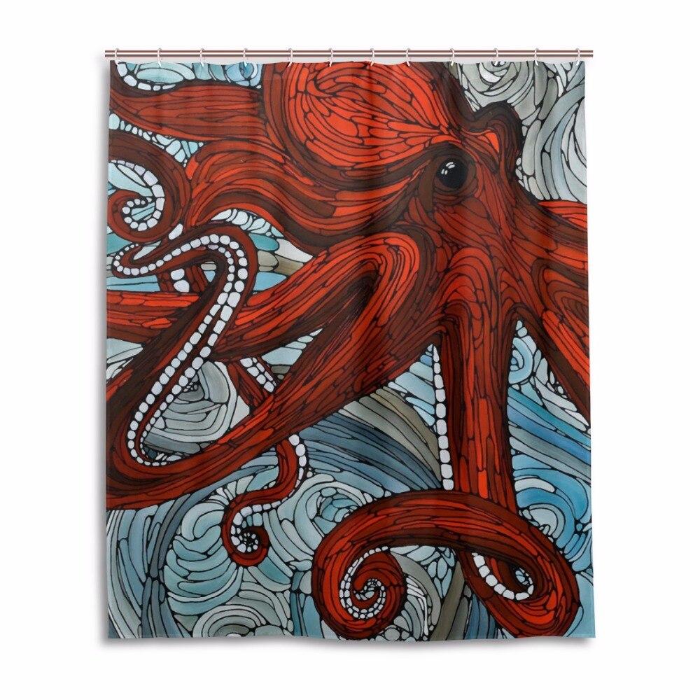 Ocean shower curtains - Octopus Shower Curtain Red Waterproof Mildewproof Bathroom Curtains Bath Curtains With 12 Hooks Gift Ocean Shower Curtains