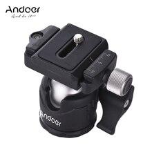 Andoer שולחן מיני כדור ראש 360 תואר וידאו חצובה Ballhead רמת בועה עבור Canon Nikon הר עם צלחת שחרור מהירה Sony