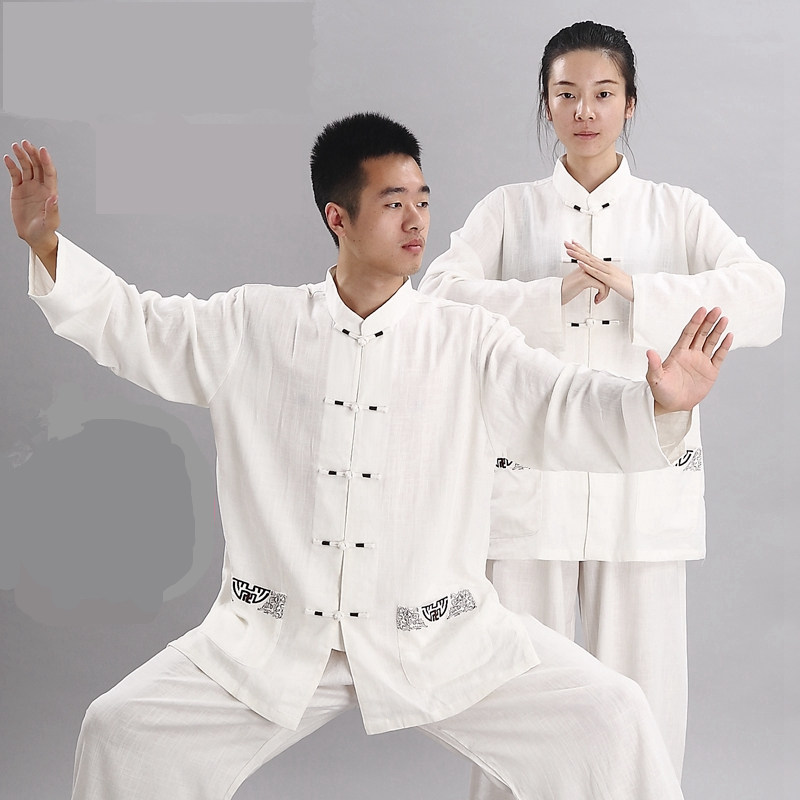 Tai Chi Suits Man Woman Embroid Wushu Kung Fu Wear Linen Fabric Embroidery Taijiquan Show Clothing Chinese Tang Clothes