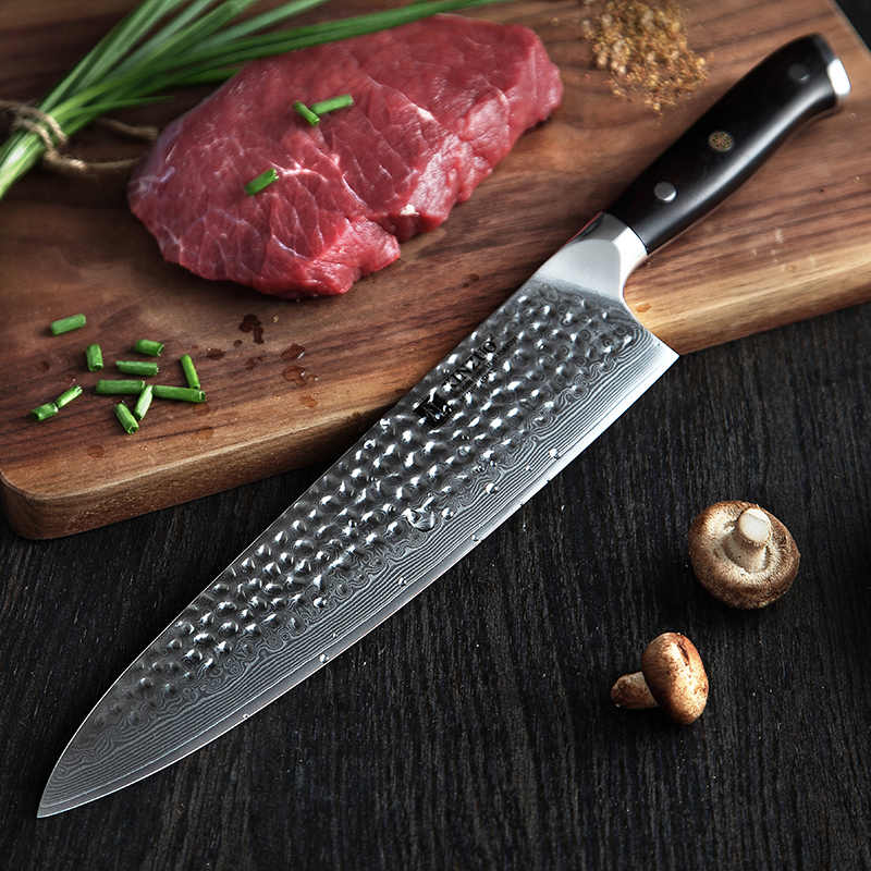 XINZUO 10-in Chef Knife Kitchen knife High Quality Damascus High Carbon Stainless Steel Japanese Series Damascus Cooking Knives
