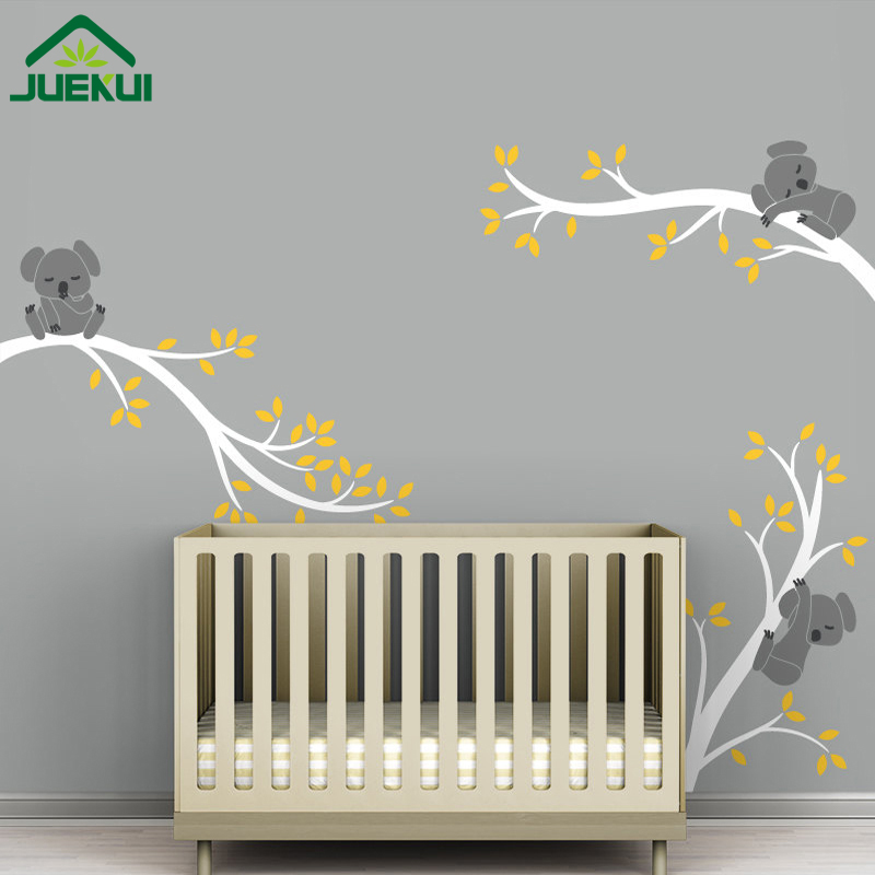 Us 22 78 15 Off 40 Design Modern Koala Tree Branches Baby Nursery Wall Art Decals Diy Vinyl Stickers For Kids Rooms Home Decor J88 In