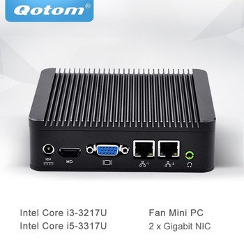 Qotom Мини ПК Core i3 3217U i5 3317U с двухъядерным 2 Gigabit Ethernet LAN небольшой компьютер поддержка AES-NI Q200S
