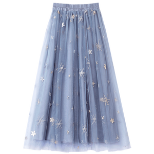 Image 2 - Flectit jupe Tutu à paillettes pour femmes, en Tulle, étoiles, en maille transparente, longueur Midi