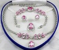 Prett Belle de Mariage des Femmes De Mariée Bijoux Ensemble Rose gemme En Cristal Collier Boucle D'oreille Bracelet Anneau argent