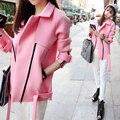 3xl плюс большой размер розовый пальто женщины весна осень 2016 feminina новая мода тонкий розовый куртки пальто кардиган женский A2240