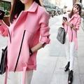 Além disso 3xl big size casacos cor de rosa mulheres primavera outono 2016 feminina moda de nova rosa fino casaco cardigan casaco feminino A2240