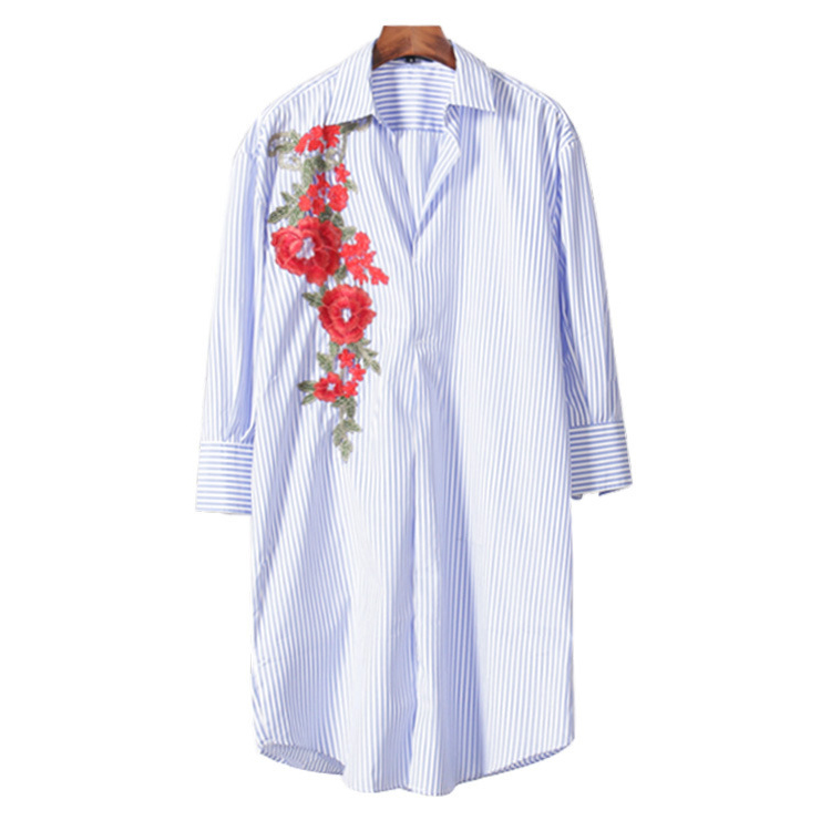 2cdfdfd37969 Achiewell Plus Size Summer Women Stripes Shirts Long Sleeve Light Blue  embroidered Loose Long Women Long Shirts-in Blouses   Shirts from Women s  Clothing on ...