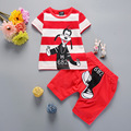 2017 Baby Girls Boys Summer Clothes Sets Infant Wear Cotton Suits Stripe Cartoon T Shirt+Shorts Casual Style Kids Children Suits