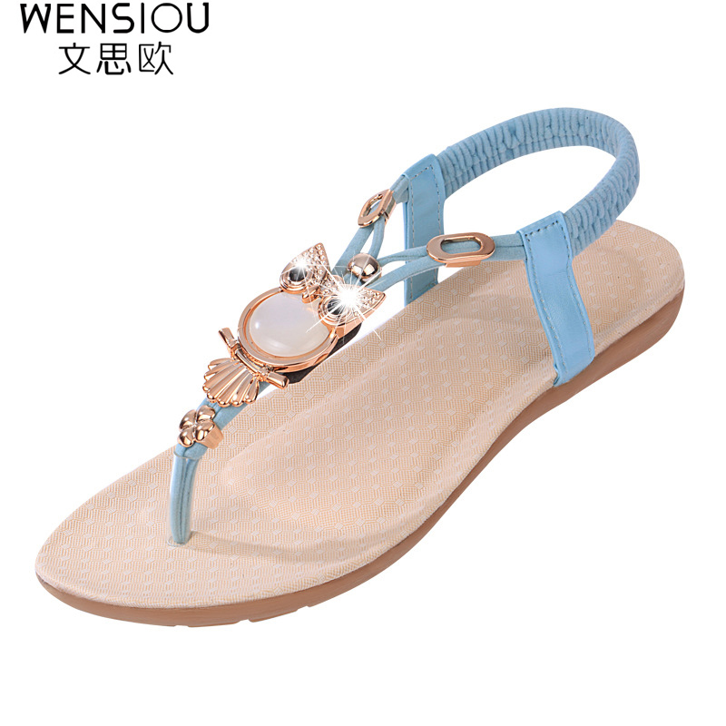 2017 Women Sandals Flat Flip Owl Rhinestone Thong women shoes Fashion Sandals Women Flat Sandals Beach Ladies Shoes NBT143 new arrival spring autumn children clothing set 100% cotton boy leisure navy style long sleeve t shirt pants suit free shipping