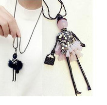 2016 New Fashion Long Lovely Dress Wear Skirt Handbag Beads Crystal Doll Necklaces & Pendants Sweater Chain For Women Girl