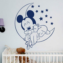 Cute Baby Sleep Mickey Mouse Wall Sticker Vinyl Home Decor Cartoon Nursery Decal Kids Room Star Moon Mural Wallpaper 3431