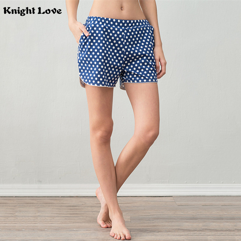Cute Sleep Bottoms Summer Shorts Women Lovely Polka Dot Pocket Knitting Cotton Pajama Pants Elastic Waist Pijama Plus Size S-XXL ...