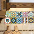 Self-adhesive Moroccan Tile Wall Sticker PVC Oil-proof Waterproof for Home Living Room Bedroom Kitchen Bathroom 15*15cm/20*20cm