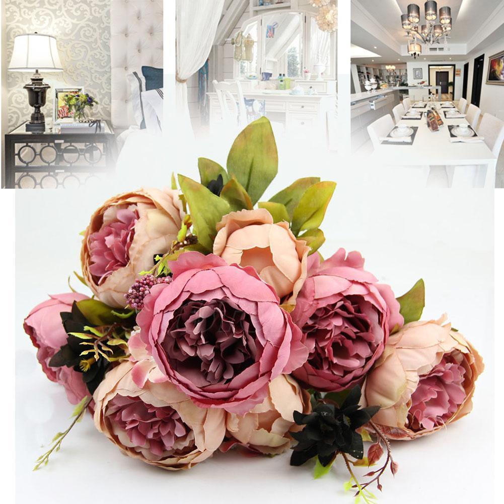 10 Head Vivid Pink Peony Fake Leaf Wedding Home Party Decor Dark