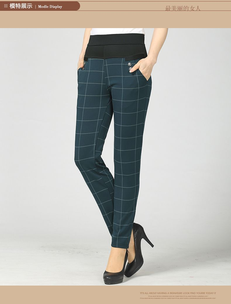 Woman Casual Pant Navy Blue Green Black Plaid Trousers Women Spring Autumn Winter Trouser High Waist Elastic Band Pantalonese Mujer  (11)