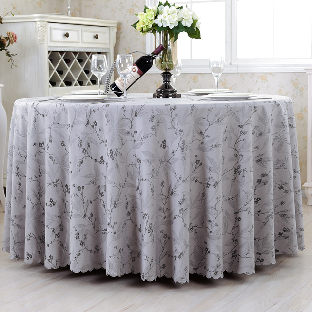 Beautiful Top Luxurious Round Table Cover Rectangle Tablecloths Hotel Wedding Tablecloth  Machine Washable Fabric Grey World Table