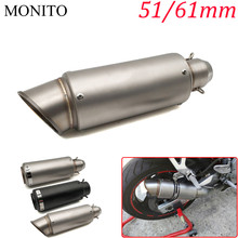 цена на Hot Universal Motorcycle SC Exhaust Muffler GP Stainless Steel Exhaust Pipe Muffler Motocross Escape Slip-on Exhaust 51mm/61mm