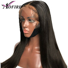 150% Density Straight 370 Lace Frontal Human Hair Wigs Brazilian Natural Hairline Remy Hair Pre plucked With Baby Hair(China)