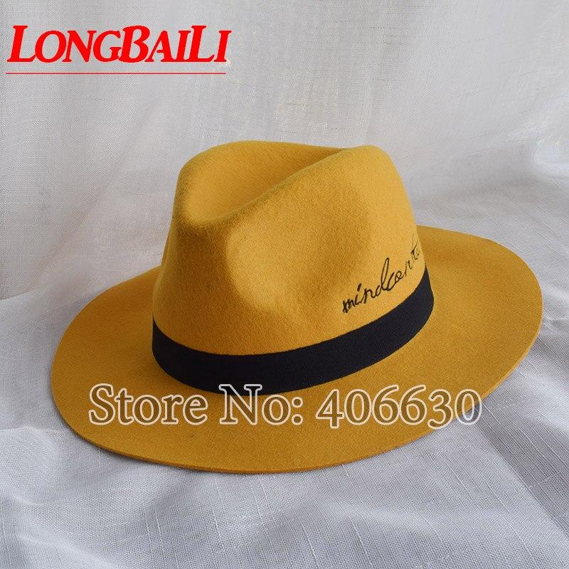d2e163775ca ... Winter Yellow Women Wide Brim Wool Felt Fedora Hats With Letters Chapeu  Feminino Free Shipping SDDW073 ...