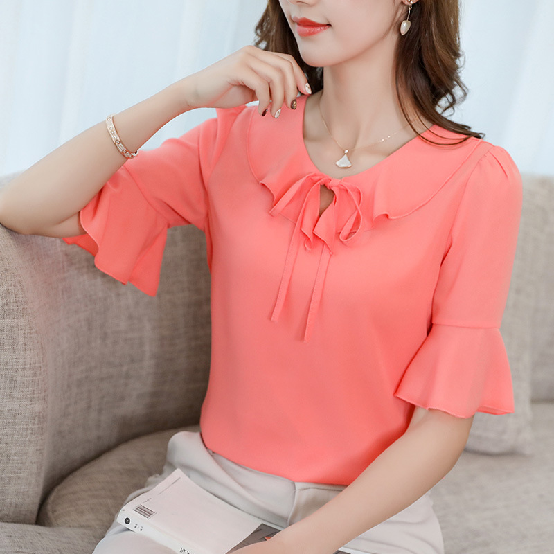 Summer Korean Chiffon Shirt 2019 Women Casual Short Sleeve Ruffles Blouse Slim Women Office Shirt Streetwear Fashion Ladies Tops