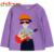 2016 Nova Primavera Outono Unisex T-shirt Roupas Personagem de Manga Longa O-pescoço Pulôver Das Meninas Dos Meninos T-shirt Top 2-7 anos de idade As Crianças