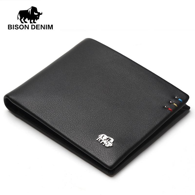 BISON DENIM fashion brand men wallets genuine leather slim bifold ID credit card holder male pocket purse