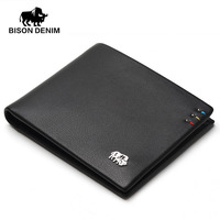 BISON DENIM fashion brand men wallets genuine leather slim bifold ID credit card holder male pocket purse