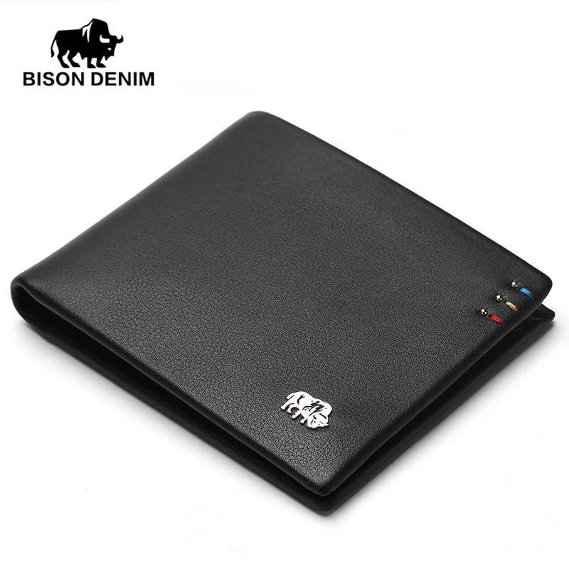 BISON DENIM fashion brand men wallets genuine leather slim bifold ID credit card holder male pocket purse цена и фото