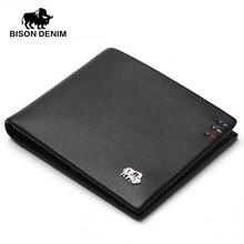 BISON DENIM fashion marke männer brieftaschen aus echtem leder dünne bifold ID kreditkarteninhaber männlichen tasche geldbörse