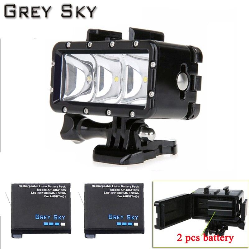 Grey Sky Hero4 Battery Underwater Diving LED Flash Light For GoPro Go Pro Hero 5 4 3 SJCAM Sj4000 Xiaomi Yi Accessories