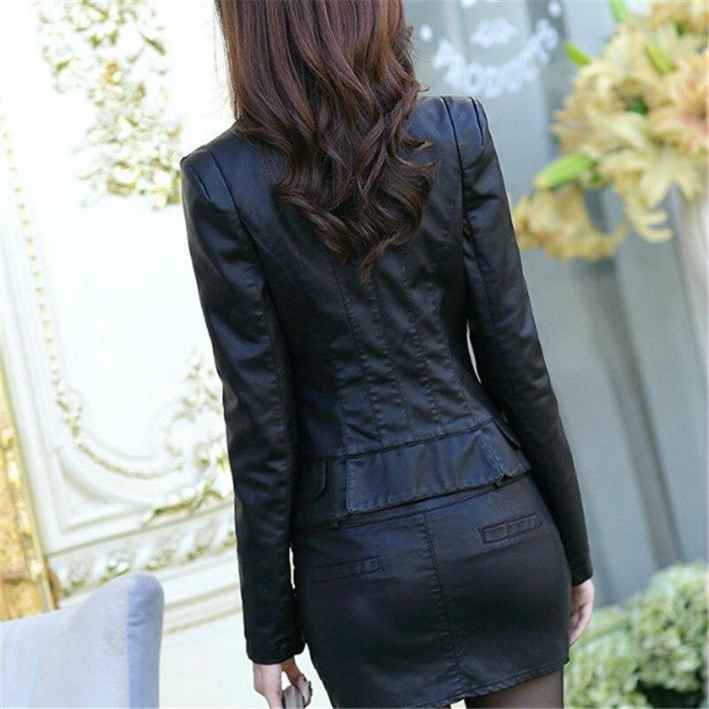 Spring PU Fashion   Jackets   PU Motocycle Button Short Women   Basic   Coats Black Slim Pocket Bomber   Jacket   Jaqueta Feminina