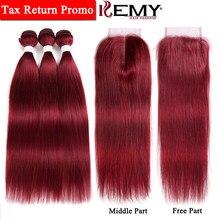 99J Borgoña pelo humano paquetes con cierre 4 4 no Remy Color rojo  brasileño pelo humano recto paquetes de armadura 3 piezas KEM. cf580d7d17a0
