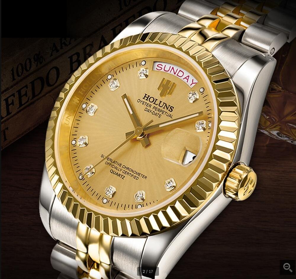 Top brand Holuns mens watches role style watch gold diamonds quartz man watch classic steel calendar