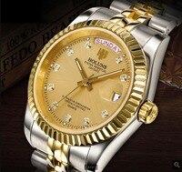Top brand Holuns mens watches role style watch gold diamonds quartz man watch classic steel calendar waterproof male wrist watch