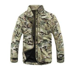 Image 2 - Мужская камуфляжная куртка, ветрозащитная тактическая куртка в стиле милитари, с воротником стойкой, флисовая верхняя одежда