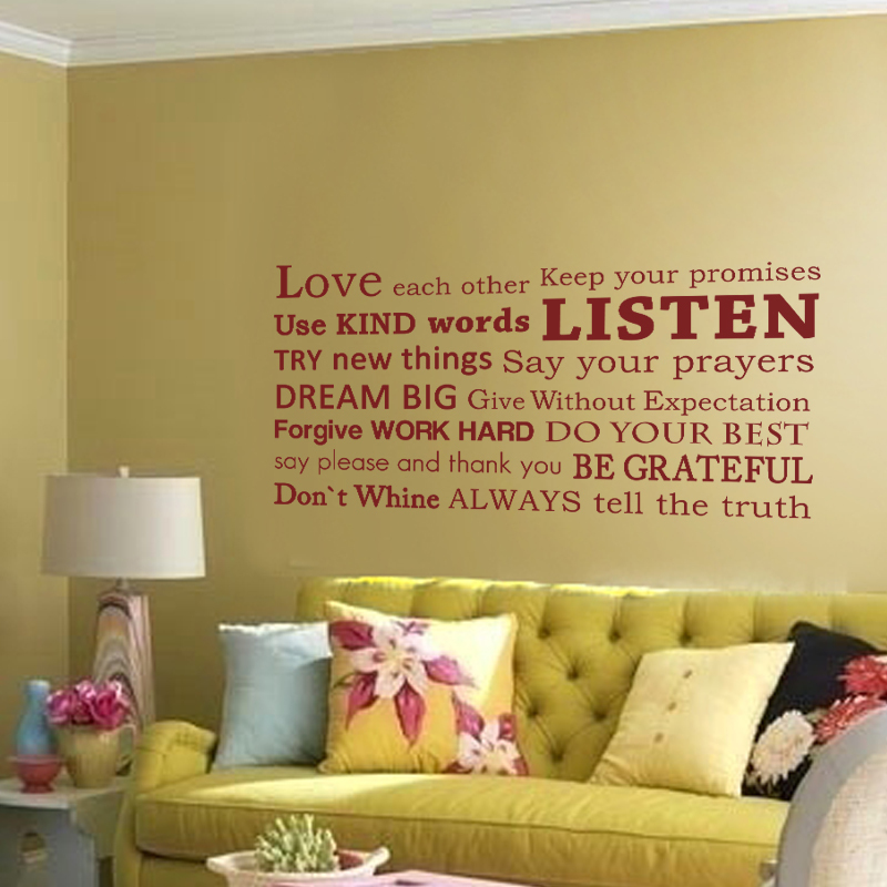 Love Each Other Family Wall Decal Do Your Best Inspirational Vinyl Wall  Sticker Quote Living Room Art Decor 34 Part 69