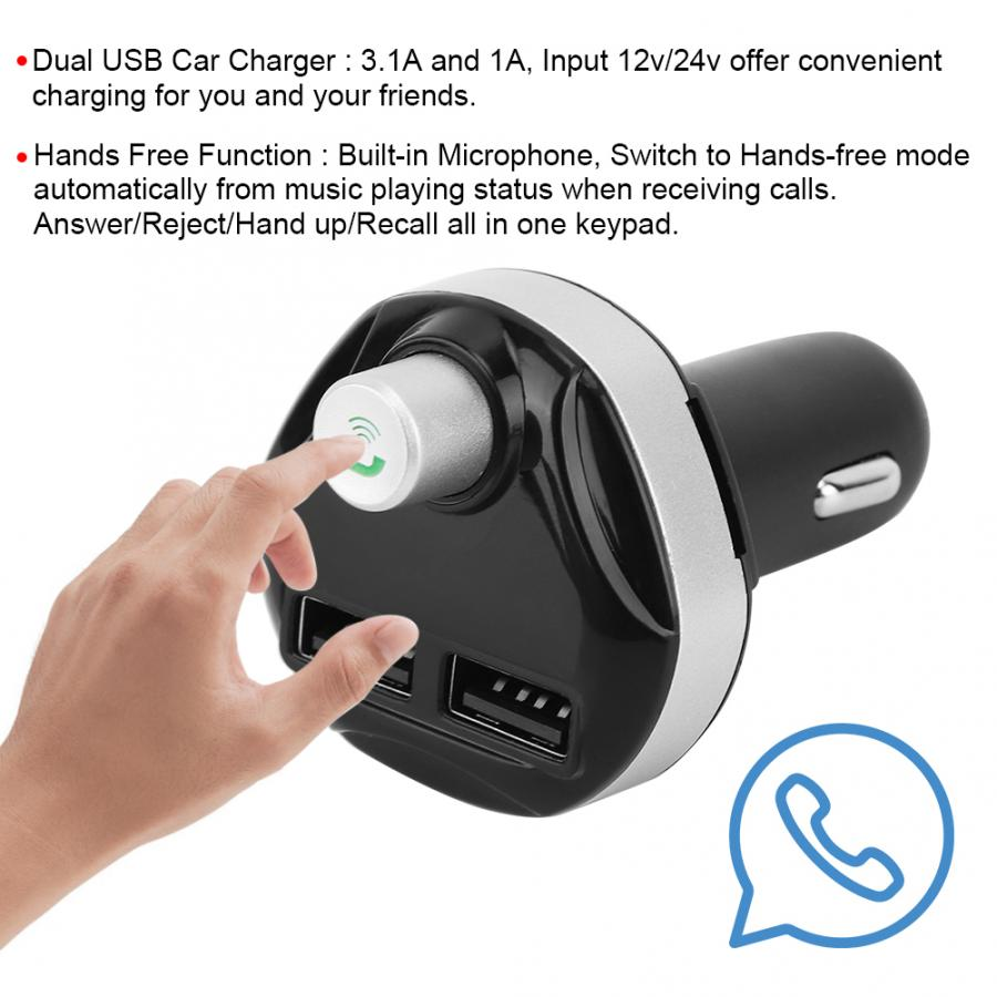 Hands free Car Kit FM Transmitter Wireless Hand-free MP3 Player Dual USB Charger