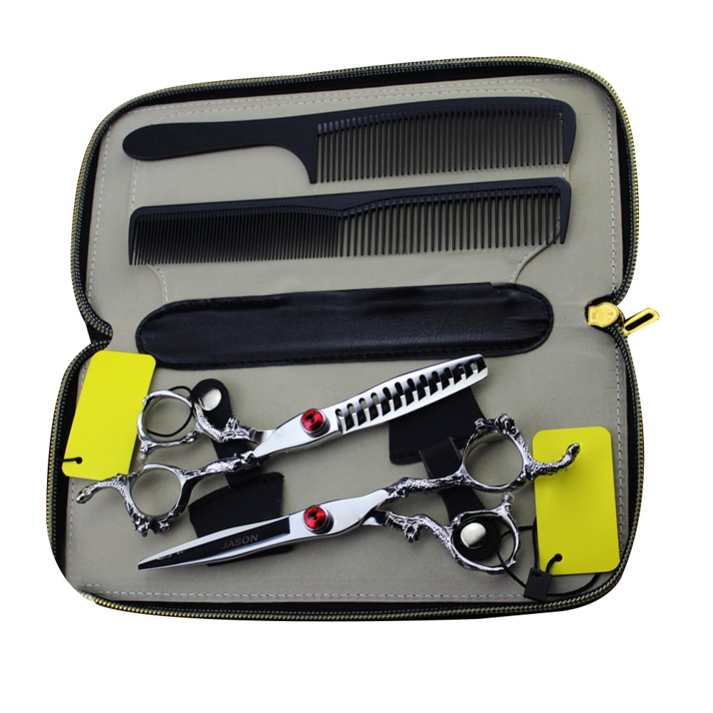 sharonds hairdressing shop professional 6 inch haircut scissors suit personality gold ruby styling hairdressing scissors set Professional Hair Scissors haircut 6 inch Set Dargon Handle Hairdressing Scissors Trimming Bangs Shears Styling Tools PCPA0910